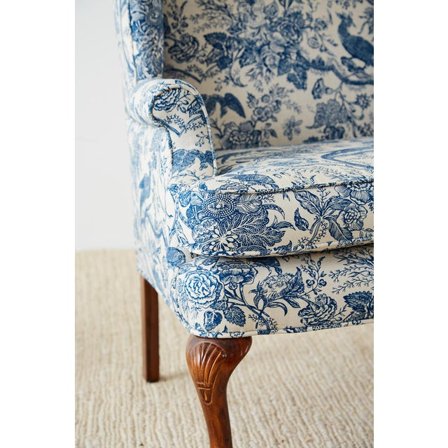 Chinoiserie Upholstered Queen Anne Wingback With Ottoman For Sale - Image 9 of 13