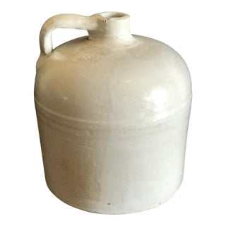 Vintage White Pottery Whiskey Jug For Sale