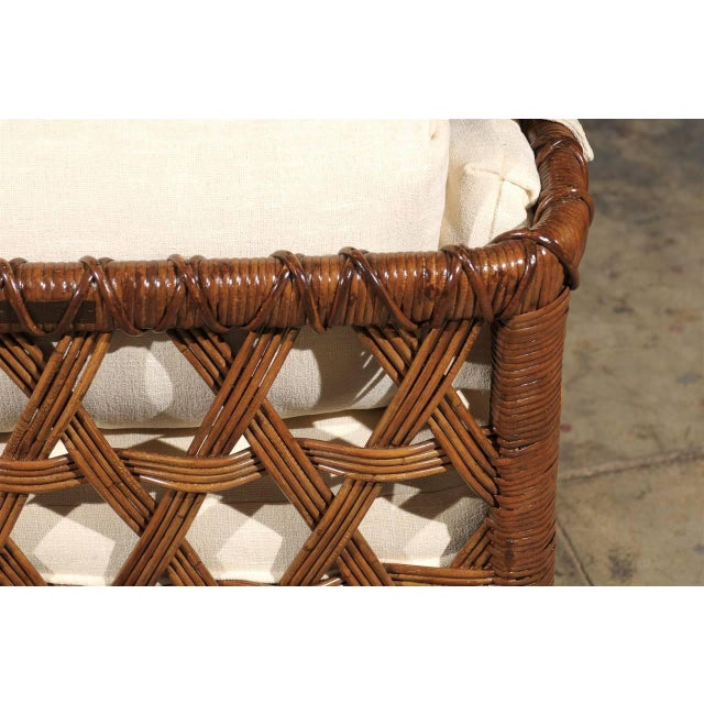 Fabric Fantastic Pair of Vintage Rattan Basket Loungers by Danny Ho Fong For Sale - Image 7 of 10