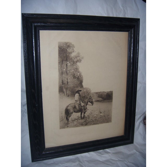 Lodge 19th-C. Engraving of Man on Horse For Sale - Image 3 of 6