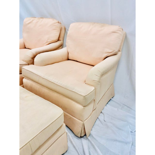 Pair Vintage Rolled Arm Club Chairs & Matching Ottoman Footrests upholstered in Pale Pink Fabric. Original finish, fabric,...