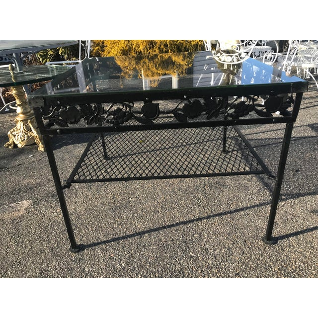 Square Glass Top Iron Outdoor Table For Sale - Image 4 of 7
