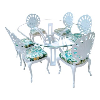 Brown Jorden Grotto Shell Back Chairs White With Palm Leaf Fabric Dining Room Table Set