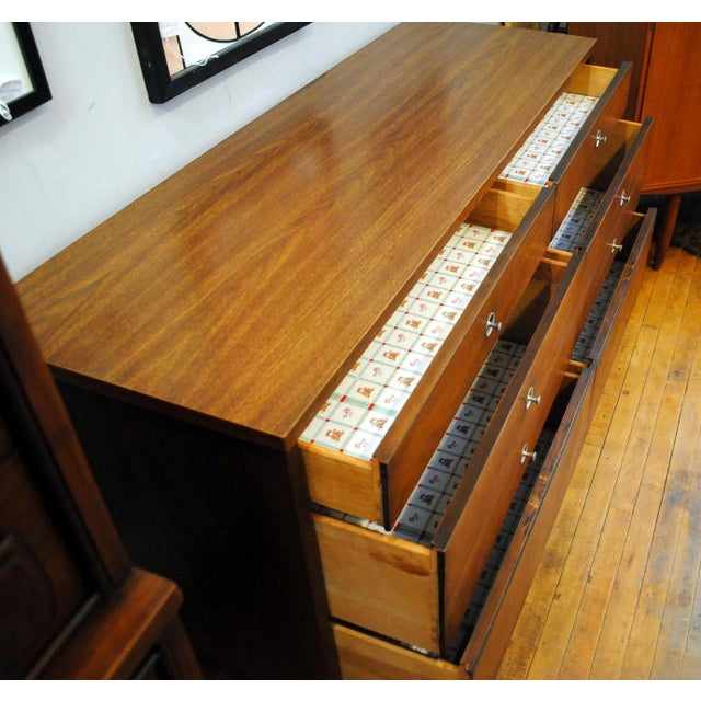 Bassett Furniture Mid Century Walnut Low Dresser by Basset 1960's For Sale - Image 4 of 10
