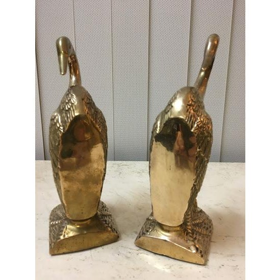 Vintage Brass Crane Bookends-a Pair For Sale In San Diego - Image 6 of 7