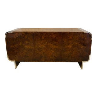 1970s Leon Rosen Pace Collection Burl Credenza For Sale