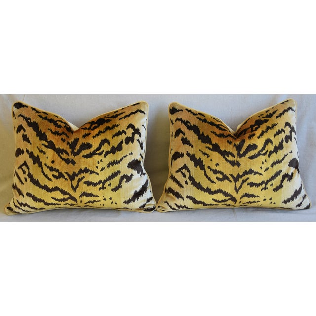 """Scalamandre Le Tigre Tiger Silk Feather/Down Pillows 23"""" X 18"""" - Pair For Sale In Los Angeles - Image 6 of 12"""