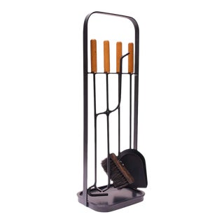 Austrian Modernist Fire Tool Set in Maple and Iron For Sale