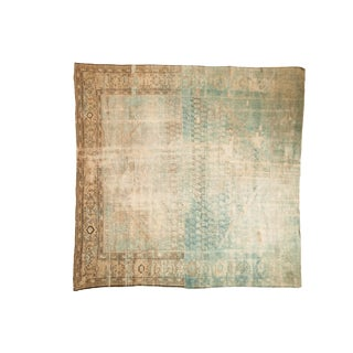"Vintage Distressed Fragment Mahal Square Carpet - 8'11"" X 9'1"" For Sale"