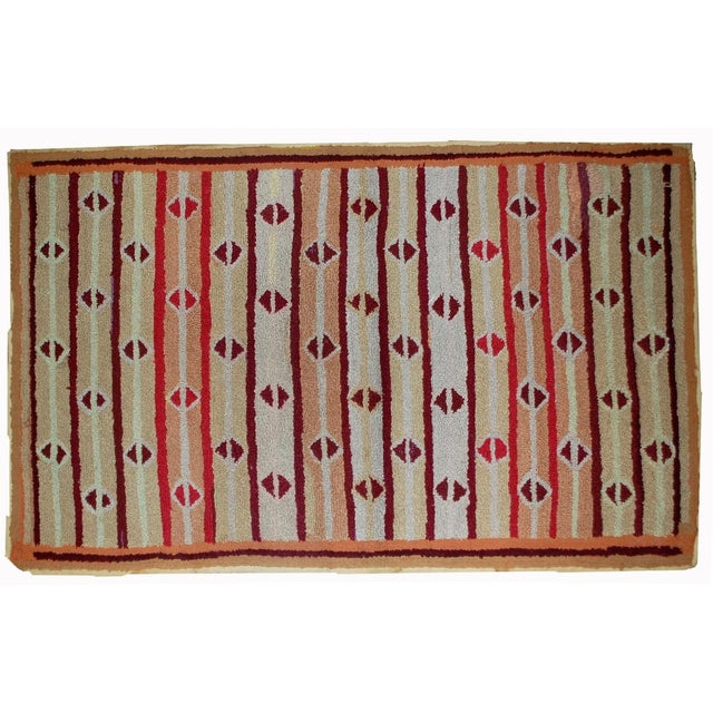 """1890s Hand Made Antique American Hooked Rug - 3'2"""" X 5'3"""" For Sale In New York - Image 6 of 6"""
