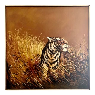 1960's Mid-Century Modern Tiger Wildlife Painting, Signed in Original Frame For Sale