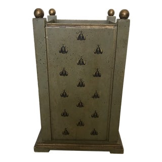 Boho Chic Painted Wood Umbrella Stand For Sale