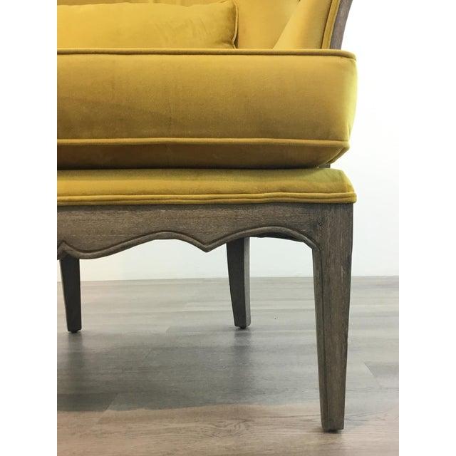 Modern Modern Chartreuse Velvet Wingback Chair For Sale - Image 3 of 6