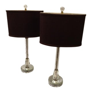 1940s Etched Glass Lamps With Mirrored Base and Custom Shade - a Pair For Sale