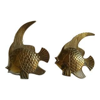Vintage Brass Angel Fish - A Pair