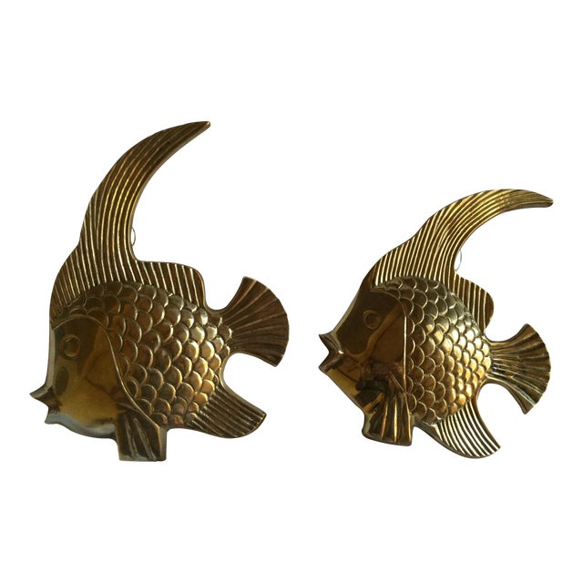 Vintage Brass Angel Fish - A Pair - Image 1 of 7