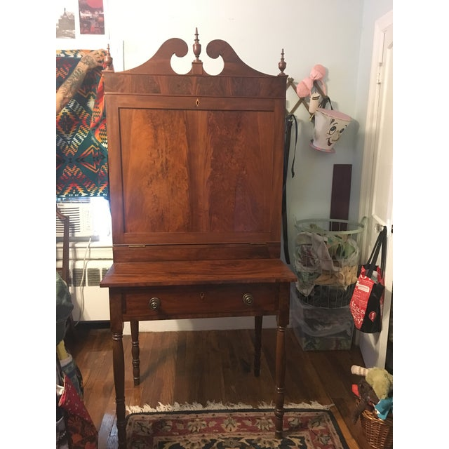 American Classical Early 19th Century Antique Mahogany Secretary Desk For Sale - Image 3 of 8