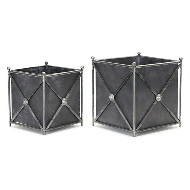 Metal Kenneth Ludwig Home Metal Planter Set - a Pair For Sale - Image 7 of 7