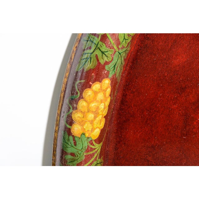 """French Antique Floral Tole Tray, 48"""" Across, C.1890 French For Sale - Image 3 of 12"""