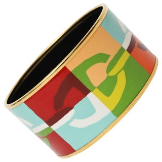 Hermes Enameled Wide Cuff Bracelet For Sale