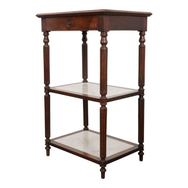 French 19th Century Louis XVI-Style Oak and Marble Three-Tier Etagère For Sale - Image 13 of 13