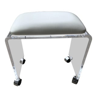1970s Vintage Lucite Waterfall Stool on Casters For Sale