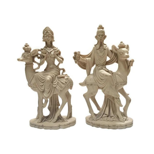 Mid Century Chinoiserie God & Goddess on Deer Statue Set - a Pair For Sale - Image 13 of 13