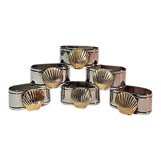 Audrey Silver Plate Napkin Rings With Brass Shell Accents - Set of 6