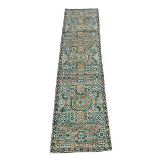 Multi Color Hand Knotted Wool Runner - 2'7''x 11'7'' For Sale