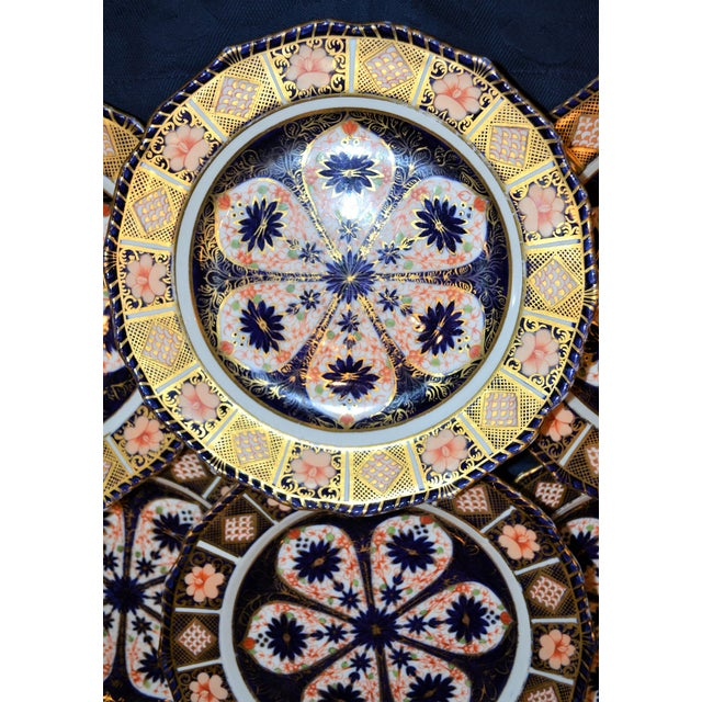 Blue Royal Crown Derby Imari Rope Edge Plates - Set of 6 For Sale - Image 8 of 10