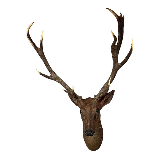 Rustic Black Forest Papier-Mache Stag Head 1900 For Sale