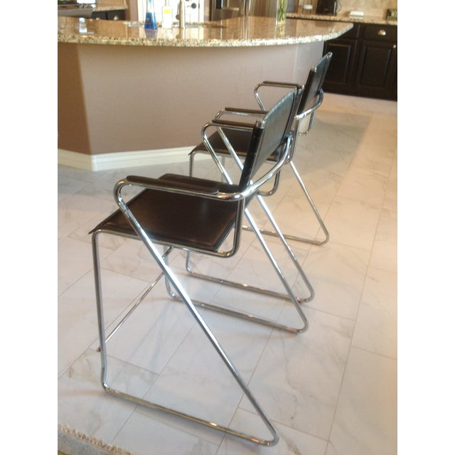 Mid-Century Chrome and Black Leather Counter Z Bar Stools - a Pair For Sale - Image 4 of 8