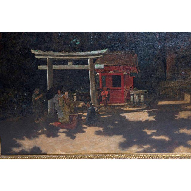 "Late 19th Century Francis Neydhart Oil on Canvas ""A Courtyard Ceremony, Nikko"" For Sale In Dallas - Image 6 of 13"