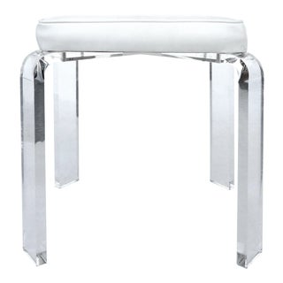 Vintage Lucite Vanity Stool W/ Upholstered Seat For Sale