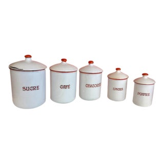 Vintage European Enamel Kitchen Canisters - Set of 5 For Sale