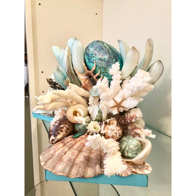 Christa's South Seashells Organic Modern Turquoise Bookends Laden With Rare Shells - a Pair For Sale - Image 4 of 5