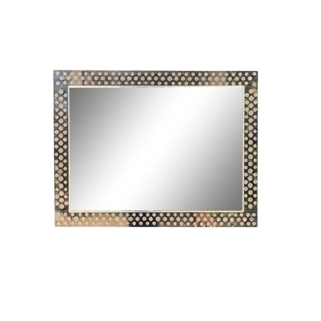 Modern Lucite Foreign Coins Inlaid Over Mantel Mirror For Sale
