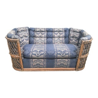 1970s Vintage Bohemian Bambo Lounger Loveseat For Sale