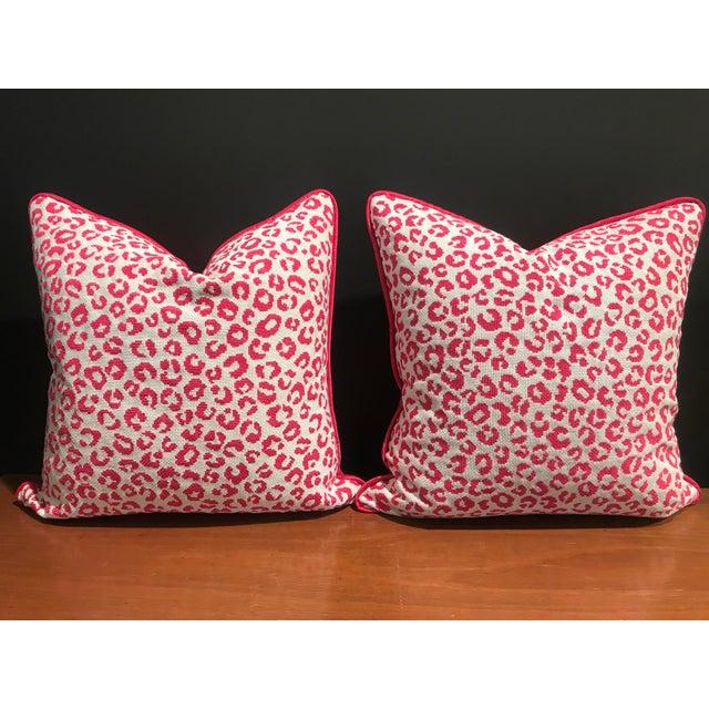 Kate Spade New York for Kravet Epingle Ocelot Dot Fuschia Leopard Pink Decorative Pillows- a Pair For Sale - Image 6 of 6