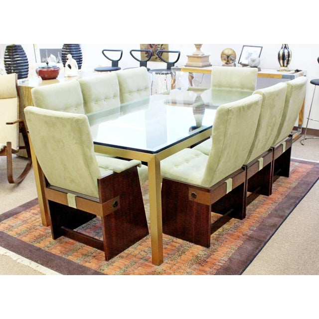 Vintage Mid-Century Modern Bronze Brass & Glass Rectangular Dining Table Brueton For Sale In Detroit - Image 6 of 8