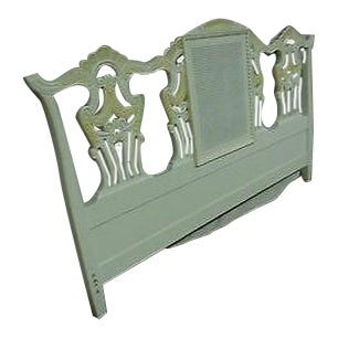 Custom Painted Chippendale Style King Size Headboard For Sale