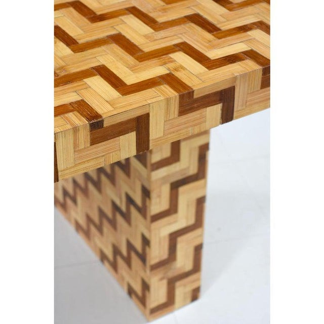Chevron Parquet Bamboo Rattan Pedestal Dining Table or Desk, 1970s For Sale In Tampa - Image 6 of 7