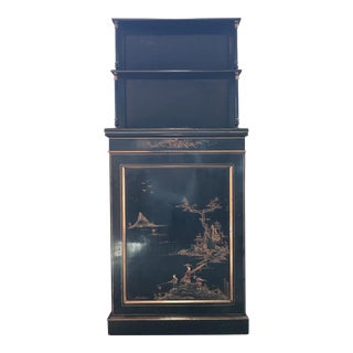 Chinoiserie Style Black Lacquer Cabinet