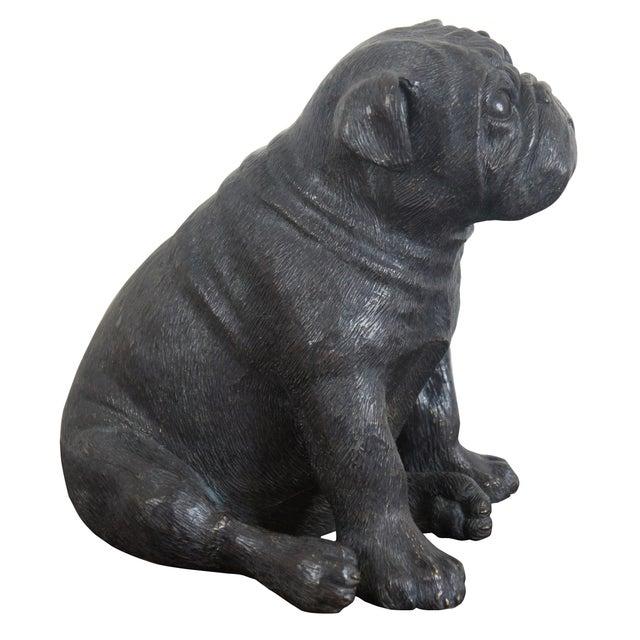 Figurative Theodore Alexander Seated British Bulldog Pug Dog Bronze Sculpture For Sale - Image 3 of 11