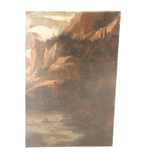 17th Century Italian Oil Painting on Canvas, Landscape With Figures For Sale - Image 4 of 13