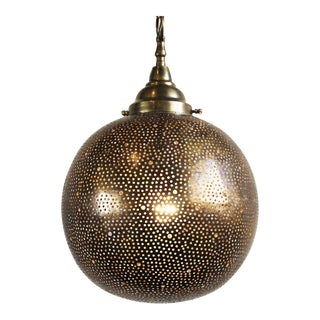 Hand Cut Brass Globe Lantern For Sale
