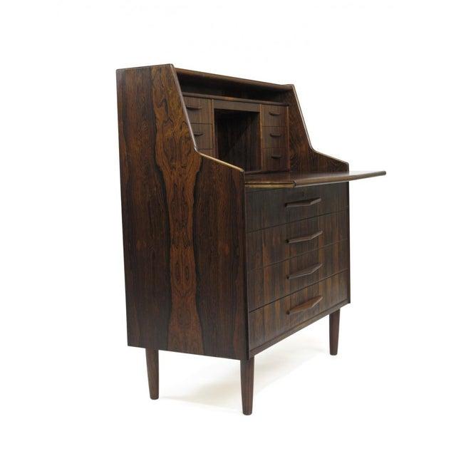 Mid 20th Century Scandinavian Modern Rosewood Secretary Desk For Sale - Image 5 of 9