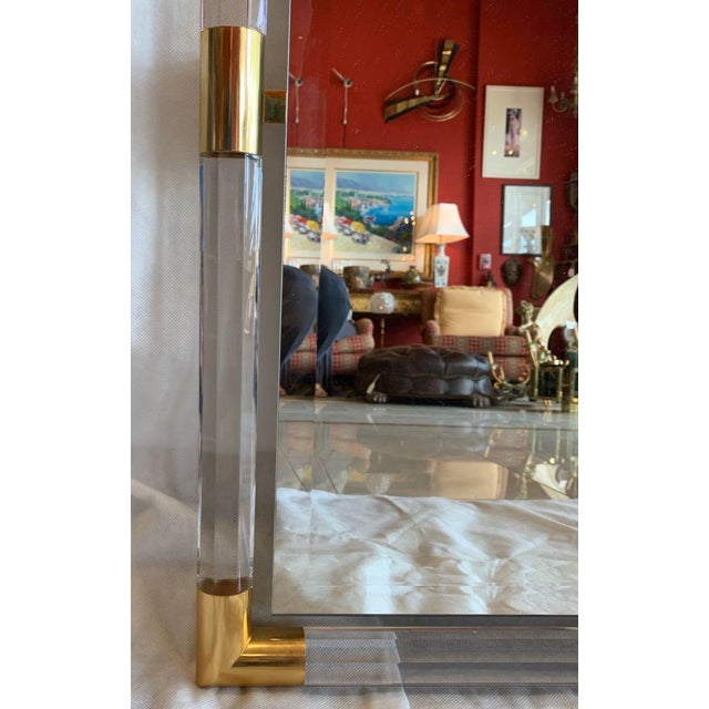 Gold Charles Hollis Jones Style Lucite Mirror For Sale - Image 8 of 11