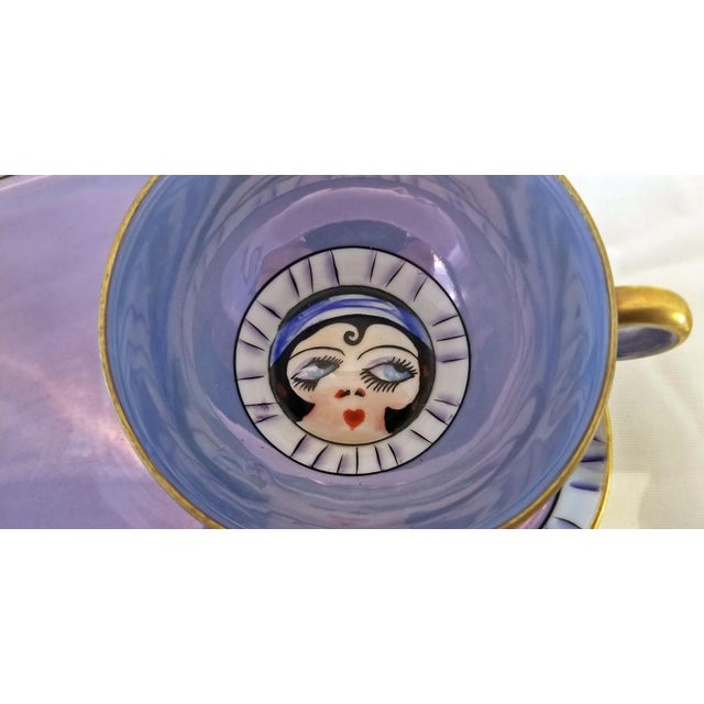 Gold Pair of Vintage Art Deco Noritake Betty Boop Cups on Platters For Sale - Image 8 of 10