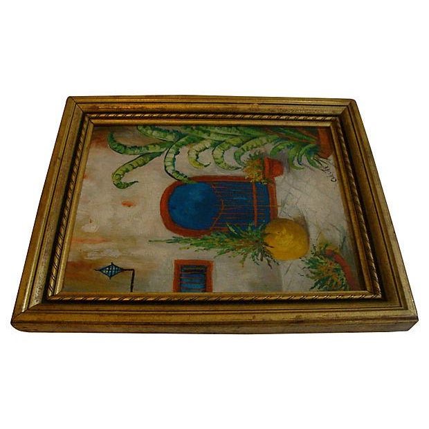 Southwest Courtyard Garden Door Oil Painting, 1920s - Image 3 of 5